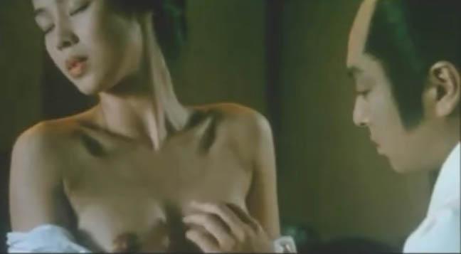 【野村真美】映画「大奥十八景」よりお殿様役のあおい輝彦に抱かれる侍女を熱演、形のいいおっぱいです!