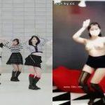 【おバカ動画】おっぱい丸出しでダンスのコピーをするおバカな韓国娘w